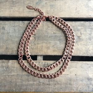 BaubleBar Rose Gold Double Chain Necklace